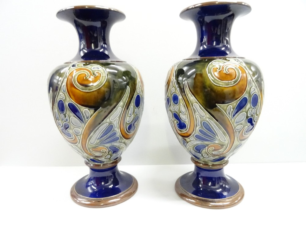 doulton lambeth pair of vases by mark marshall