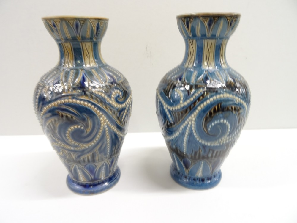 doulton lambeth pair of vases by frank butler